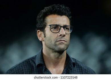 Rio, Brazil - june 06, 2018: Alberto Valentim coach in match between Botafogo and Ceara by the Brazilian Championship in Nilton Santos Stadium