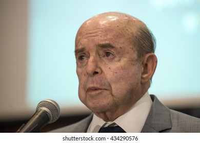 Rio, Brazil - june 09, 2016:  Governor of Rio de Janeiro Francisco Dornelles for Collective held at Guanabara Palace announce joint measures to contain costs and optimize government spending.