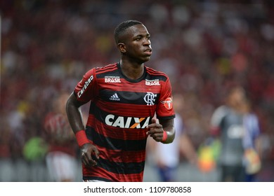 Rio, Brazil - june 10, 2018: Vinicius Junior player in match between Flamengo and Parana by the Brazilian Championship in Maracana Stadium