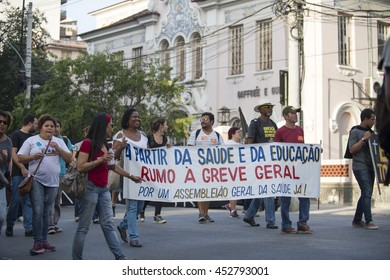 Rio, Brazil - june 14, 2016:  State Teachers of Rio de Janeiro are on strike since march and make protest walk the city streets