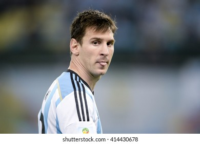 RIO, BRAZIL - June 15, 2014: Lionel MESSI of Argentina during the 2014 World Cup. Argentina is facing Bosnia in the Group F at Maracana Stadium