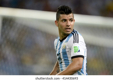 RIO, BRAZIL - June 15, 2014: Sergio AGUERO of Argentina during the 2014 World Cup. Argentina is facing Bosnia in the Group F at Maracana Stadium
