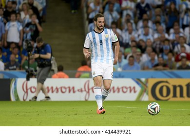 RIO, BRAZIL - June 15, 2014: Gonzalo HIGUAIN of Argentina during the 2014 World Cup. Argentina is facing Bosnia in the Group F at Maracana Stadium