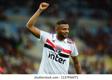 Rio, Brazil - june 18, 2018: Reinaldo player in match between Flamengo and Sao Paulo by the Brazilian Championship in Maracana Stadium