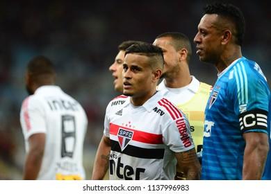 Rio, Brazil - june 18, 2018: Everton player in match between Flamengo and Sao Paulo by the Brazilian Championship in Maracana Stadium