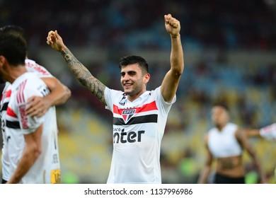 Rio, Brazil - june 18, 2018: Liziero player in match between Flamengo and Sao Paulo by the Brazilian Championship in Maracana Stadium
