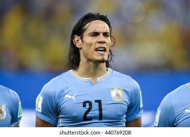 RIO, BRAZIL - June 28, 2014: Edinson CAVANI of Uruguai, during the FIFA 2014 World Cup. Colombia is facing Uruguay in the Round of 16 at Maracana Stadium