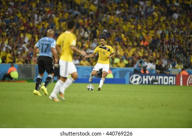 RIO, BRAZIL - June 28, 2014: Abel AGUILAR of Colombia during the FIFA 2014 World Cup. Colombia is facing Uruguay in the Round of 16 at Maracana Stadium