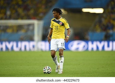 RIO, BRAZIL - June 28, 2014: Juan CUADRADO of Colombia during the FIFA 2014 World Cup. Colombia is facing Uruguay in the Round of 16 at Maracana Stadium