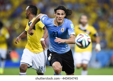 RIO, BRAZIL - June 28, 2014: Edison CAVANI of Uruguay during the FIFA 2014 World Cup. Colombia is facing Uruguay in the Round of 16 at Maracana Stadium