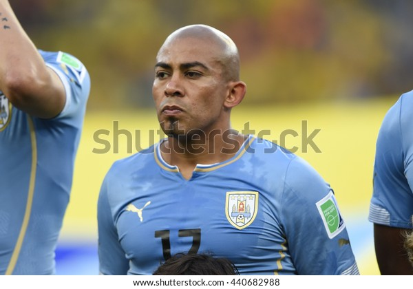 RIO, BRAZIL - June 28, 2014: Egidio AREVALO of Uruguay during the FIFA 2014 World Cup. Colombia is facing Uruguay in the Round of 16 at Maracana Stadium