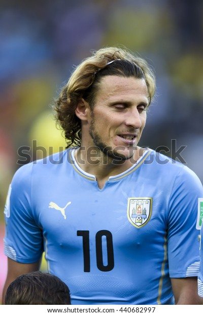 RIO, BRAZIL - June 28, 2014: Diego FORLAN of Uruguay during the FIFA 2014 World Cup. Colombia is facing Uruguay in the Round of 16 at Maracana Stadium