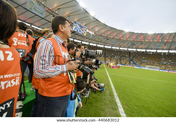 RIO, BRAZIL - June 28, 2014: photographers during the FIFA 2014 World Cup. Colombia is facing Uruguay in the Round of 16 at Maracana Stadium