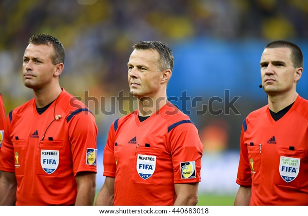RIO, BRAZIL - June 28, 2014: Bjorn KUIPERS referee during the FIFA 2014 World Cup. Colombia is facing Uruguay in the Round of 16 at Maracana Stadium