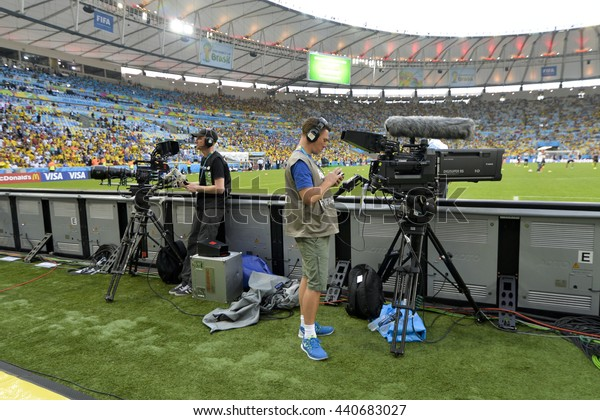 RIO, BRAZIL - June 28, 2014: cameramen during the FIFA 2014 World Cup. Colombia is facing Uruguay in the Round of 16 at Maracana Stadium
