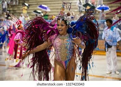 """Rio, Brazil - march 01, 2019: Unidos da Ponte with the """"Offerings"""" ensemble during the Carnival Samba School Carnival RJ 2019, held at Sambodromo da Marqus de Sapuca' in Rio de Janeiro, RJ."""