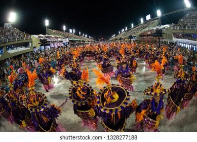 "Rio, Brazil - march 01, 2019: Estacio de Sa with the plot ""The faith that emerges from the waters"" during Parade Samba Schools of Carnival RJ 2019, held in the Sambodromo da Marques de Sapucai"
