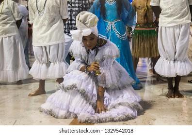 """Rio, Brazil - march 01, 2019: Unidos da Ponte with the """"Offerings"""" ensemble during the Carnival Samba School Carnival RJ 2019, held at Sambodromo da Marques de Sapucai"""