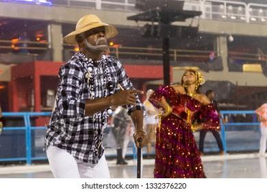 Rio, Brazil - march 01, 2019: Alegria da Zona Sul during the Carnival Samba School Carnival RJ 2019, held at Sambodromo da Marques de Sapucai.
