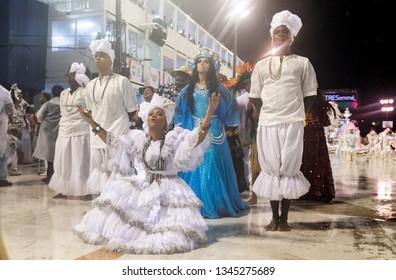 Rio, Brazil - march 01, 2019: Alegria da Zona Sul during the Carnival Samba School Carnival RJ 2019. iemanja