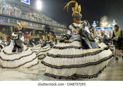 Rio, Brazil - march 01, 2019: Alegria da Zona Sul during the Carnival Samba School Carnival RJ 2019, at Sambodromo. Baianas