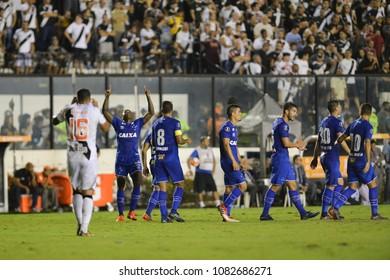 Rio, Brazil - may 02, 2018: player celebrate goal in match between Vasco da Gama and Cruzeiro by the Brazilian Championship in Sao Sanuario Stadium