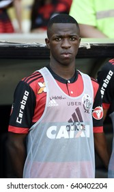 Rio, Brazil - may 14, 2017: Vinícius Junior player in match between Flamengo and Atletico MG In the Brazilian soccer championship in Maracanã