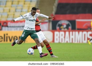 Rio, Brazil - may 30, 2021: Patrick de Paula player in match between Flamengo vs Palmeiras by 1st round of Brazilian Championship in Maracana Stadium