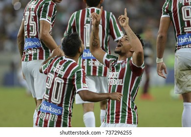 Rio, Brazil - october 18, 2017: Sornoza and Douglas player in match between Fluminense and  Sao Paulo by the Brazilian championship in Maracana Stadium