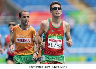 Rio, Brazil - september 08, 2016: Nuno Alves (POR) during Men's 5000m - T11 in the Rio 2016 Paralympics Games