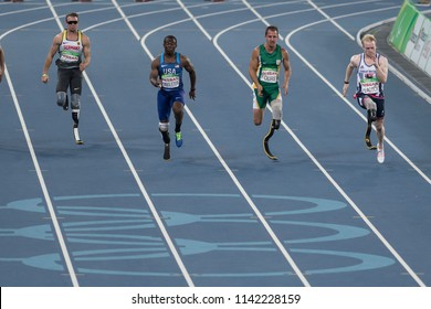 Rio, Brazil - september 08, 2016: Jonnie PEACOCK (GBR) during Men 100m - T44 Round 1, in the Rio 2016 Paralympics Games.