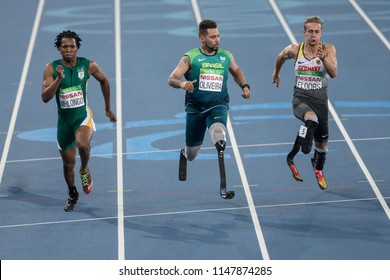 Rio, Brazil - september 08, 2016: OLIVEIRA Alan Fonteles Cardoso (BRA) during Men's 100m - T44 Round 1, in the Rio 2016 Paralympics Games.