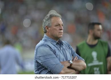 Rio, Brazil - september 14, 2017: Coach Abel Braga in match between Fluminense and  LDU by the Sulamericana Cup 2017 in Maracana Stadium