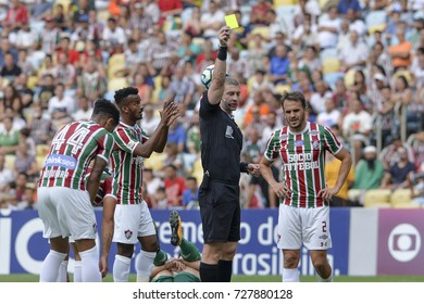Rio, Brazil - september 24, 2017: Anderson Daronco referee in match between Fluminense and  Palmeiras by the Brazilian championship in Maracana Stadium