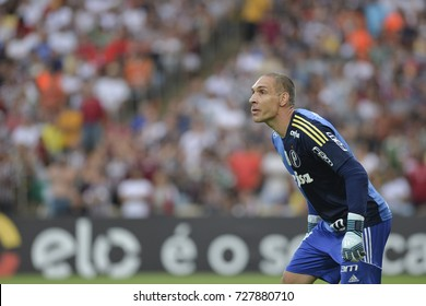 Rio, Brazil - september 24, 2017: Fernando Press goal keeper in match between Fluminense and  Palmeiras by the Brazilian championship in Maracana Stadium