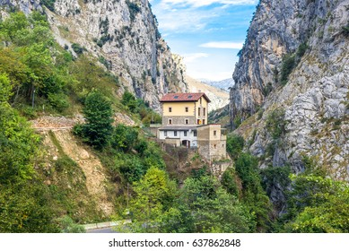 The Rio Cares Gorge in the National Park Los Picos de Europa. The mountain stream is known because of the narrow and spectacular canyon it forms when passing the Picos de Europa