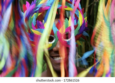 Rio Carnival scene features smiling Brazilian man in colorful mask with streamers