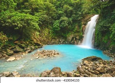The Rio Celeste waterfall in Costa Rica