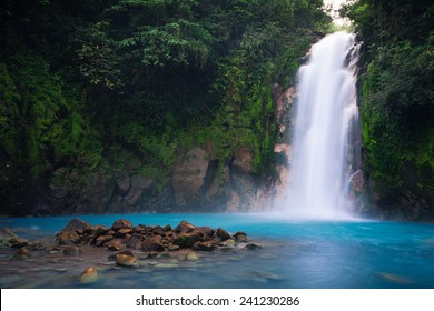 Rio Celeste waterfall in Tenorio Volcano national park, Costa Rica.