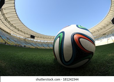 RIO DE JANEIRO - 10 MARCH 2014 - Brazuca ball on the field at Maracan�£ Stadium on 92 days countdown for 2014 FIFA World Cup Brazil.