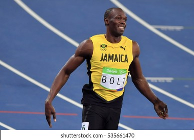 Rio De Janeiro, 15 August 2016: World number one 100 meter, from Jamaica, Usain Bolt, perform at the Olympic Summer Games in Rio De Janeiro, Brazil.