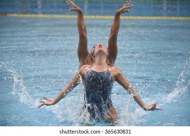 RIO DE JANEIRO, 18 December 2015 - BRAZILIAN TEAM synchronized swimming training for the Olympics