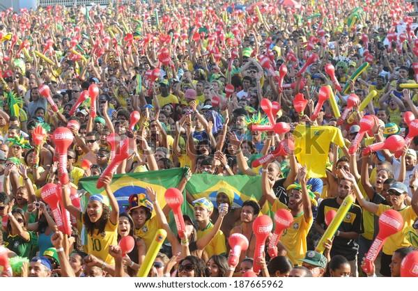 RIO DE JANEIRO, 23 JUNE 2010 FANS OF BRAZIL, IN CELEBRATING FIFA FAN FEST in Copacabana