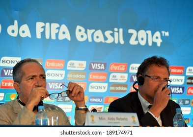 RIO DE JANEIRO,  25 April 2014 Missing 48 days FOR WORLD CUP, Meeting  of the 2014 World Cup. with the presence of the general secretary of FIFA, Jerome Valcker and sports minister , Aldo Rebelo