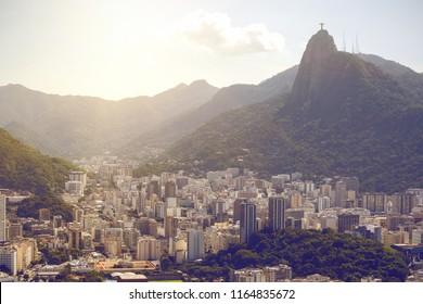 Rio de Janeiro aerial view at sunny day, Brazil