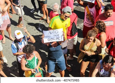 RIO DE JANEIRO, APRIL 17, 2016: Protests in Brazil against Dilma Roussef's impeachment in Copacabana beach.