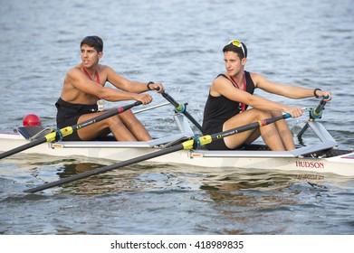 RIO DE JANEIRO - APRIL 2, 2016: Rowers prepare to compete in a race on Lagoa Rodrigo de Freitas lagoon, a venue for the Rio 2016 Olympic Games.
