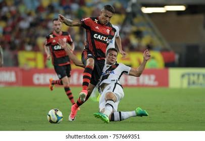 Rio de Janeiro, April 8, 2017. Flamengo soccer player, Paolo Guerrero, in action in the Flamengo Vs. Vasco game at the Maracanã Stadium in Rio de Janeiro, Brazil