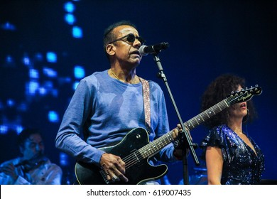 RIO DE JANEIRO, APRIL 9, 2017: Singer Jorge Benjor on stage during Nivea Viva Music Festival at Ipanema Beach