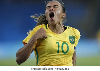 Rio de Janeiro August 03, 2016  Brazilian women soccer player Marta celebrates after the match with China during the 2016 Olympic Games.